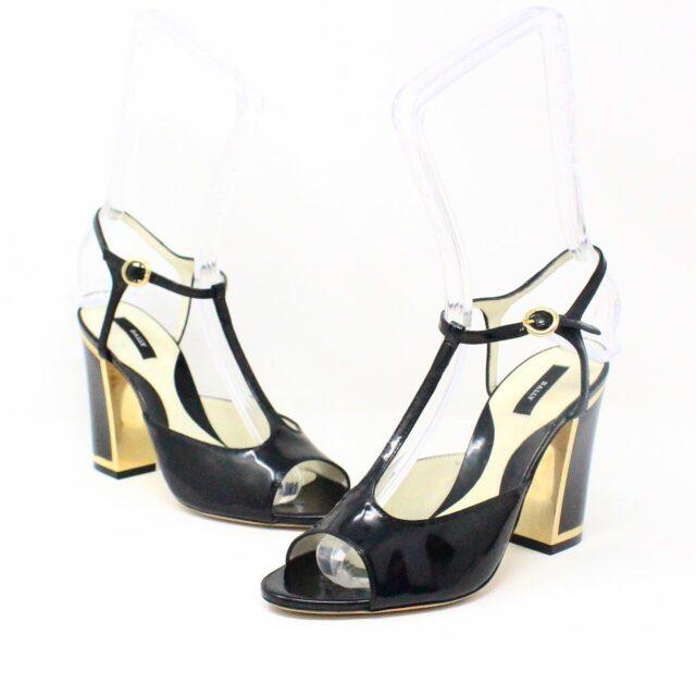 BALLY 26475 Black Patent Leather Strappy Heels US 5.5 EU 35.5 1