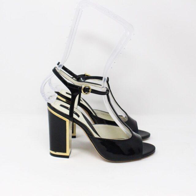 BALLY 26475 Black Patent Leather Strappy Heels US 5.5 EU 35.5 2