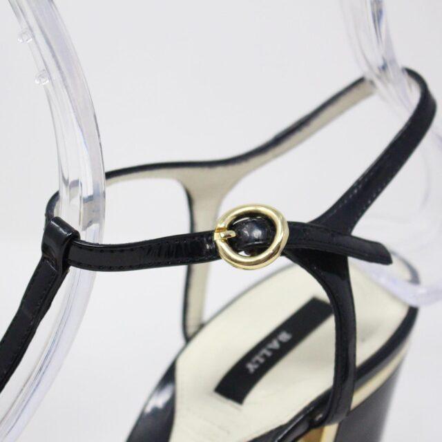 BALLY 26475 Black Patent Leather Strappy Heels US 5.5 EU 35.5 6