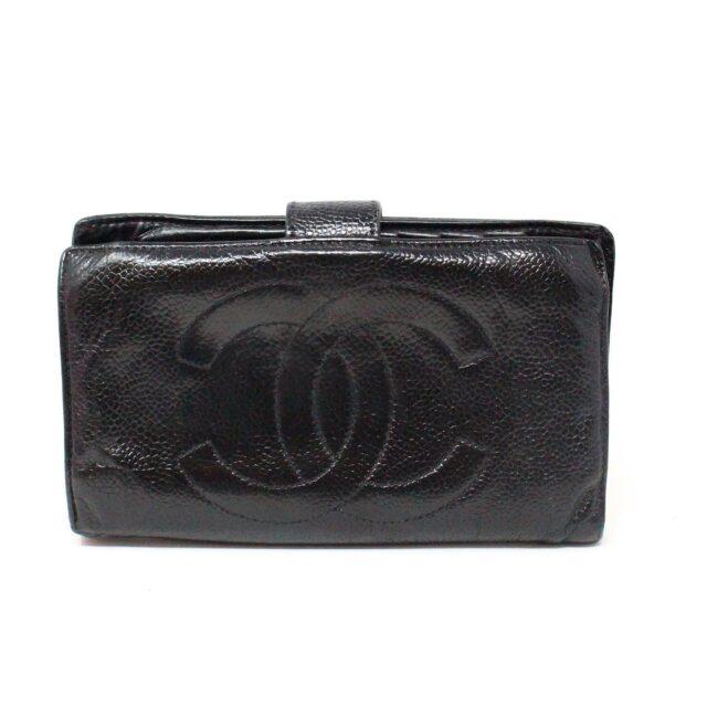 CHANEL 31356 Vintage Black Caviar Leather Snappy Wallet 1