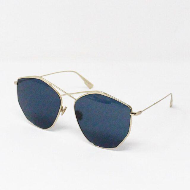 CHRISTIAN DIOR 31260 Hexagonal Blue Gold Tone Sunglasses 1
