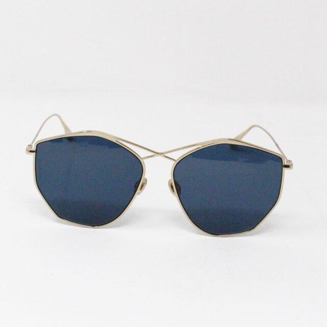 CHRISTIAN DIOR 31260 Hexagonal Blue Gold Tone Sunglasses 2
