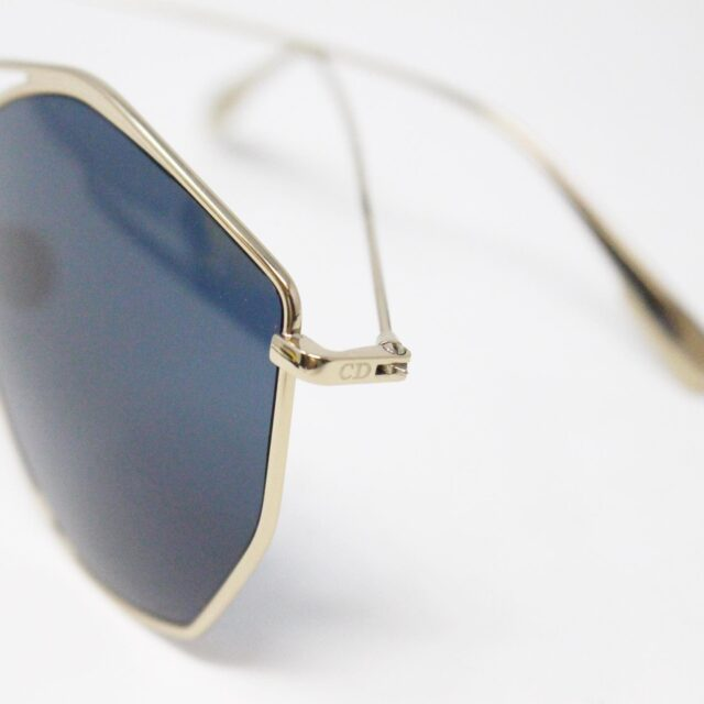 CHRISTIAN DIOR 31260 Hexagonal Blue Gold Tone Sunglasses 4