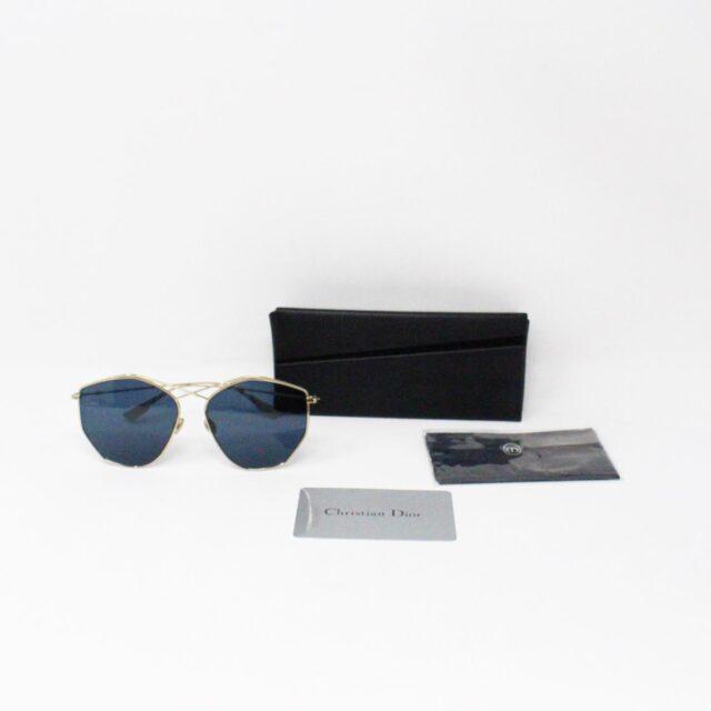 CHRISTIAN DIOR 31260 Hexagonal Blue Gold Tone Sunglasses 7