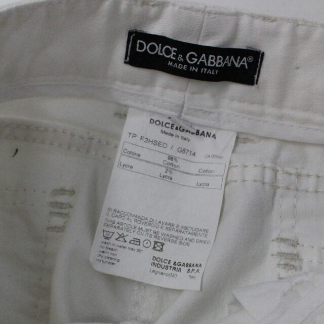DOLCE GABBANA 30154 Flare White Denim US 12 EU 44 7