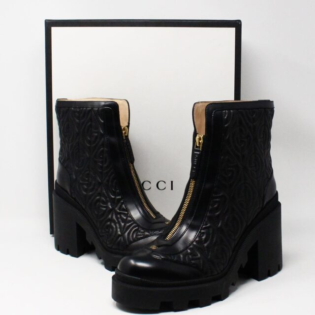 GUCCI 31276 Black Leather Rhombus Ankle Boots US 10 EU 40 1