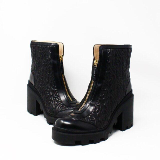 GUCCI 31276 Black Leather Rhombus Ankle Boots US 10 EU 40 2