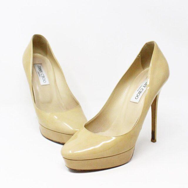 JIMMY CHOO 31350 Nude Patent Leather Platform Heels US 8.5 EU 38.5 1