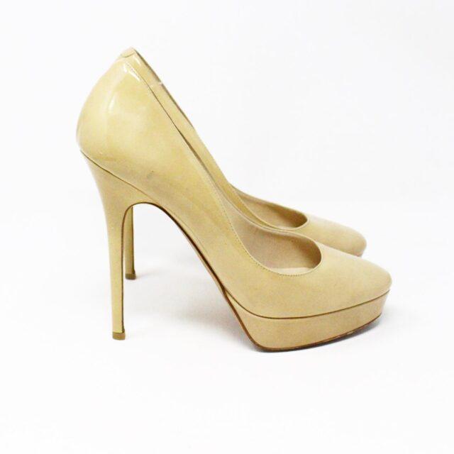 JIMMY CHOO 31350 Nude Patent Leather Platform Heels US 8.5 EU 38.5 2