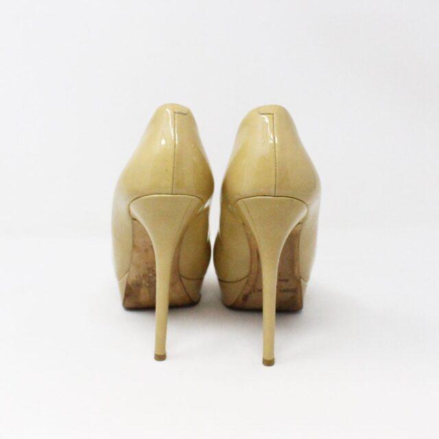 JIMMY CHOO 31350 Nude Patent Leather Platform Heels US 8.5 EU 38.5 3