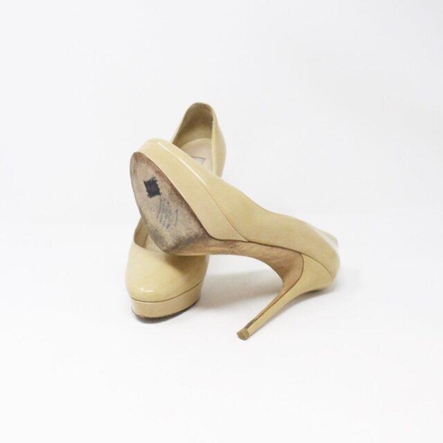JIMMY CHOO 31350 Nude Patent Leather Platform Heels US 8.5 EU 38.5 4
