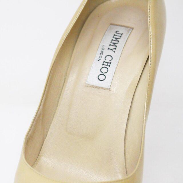 JIMMY CHOO 31350 Nude Patent Leather Platform Heels US 8.5 EU 38.5 6