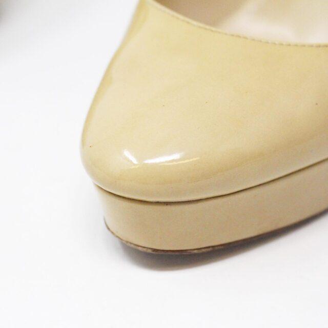 JIMMY CHOO 31350 Nude Patent Leather Platform Heels US 8.5 EU 38.5 7