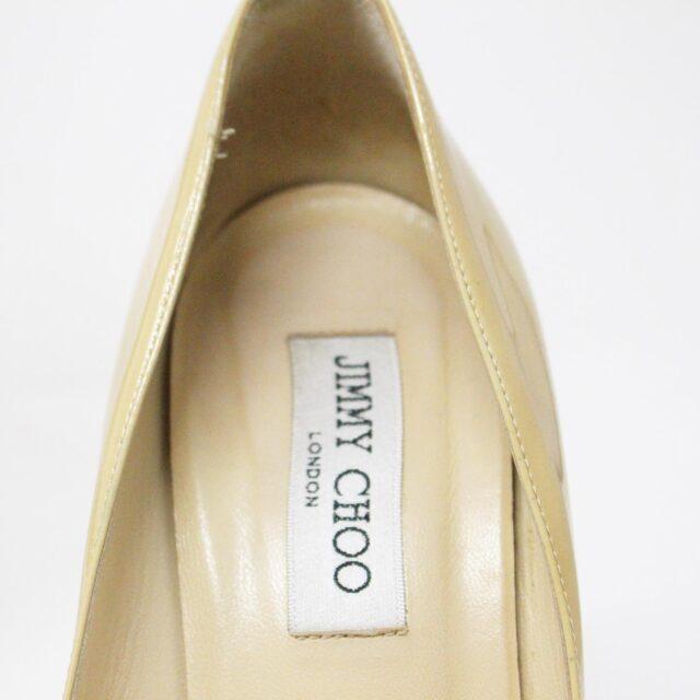 JIMMY CHOO 31350 Nude Patent Leather Platform Heels US 8.5 EU 38.5 9