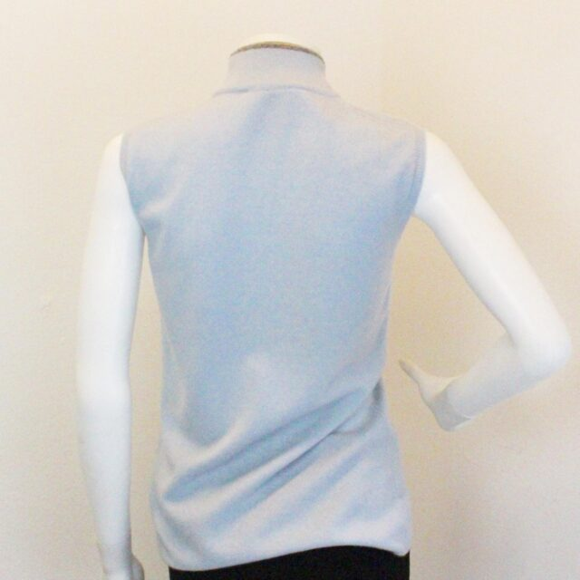 LUCIANO BARBERA 28458 Blue Cashmere Sleevless Top Size Small 3