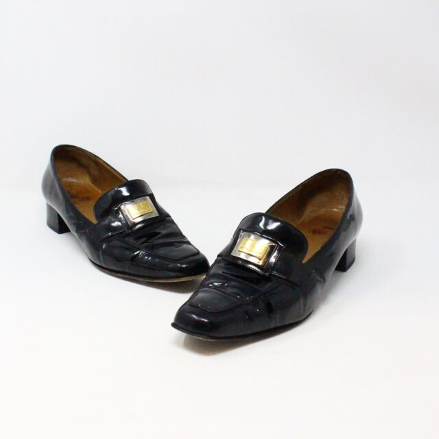 SALVATORE FERRAGAMO 26840 Vintage Patent Leather Heeled Loafers US 6 EU 36 1