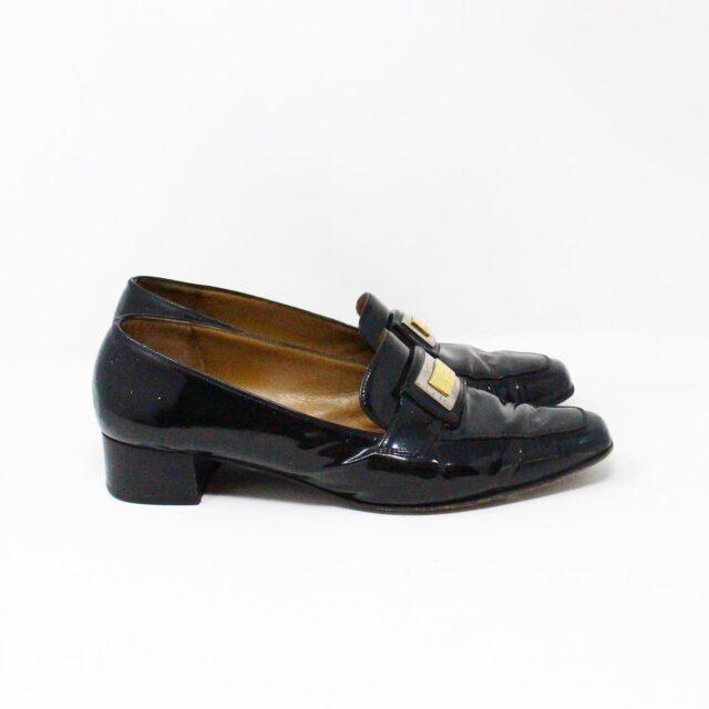 SALVATORE FERRAGAMO 26840 Vintage Patent Leather Heeled Loafers US 6 EU 36 2