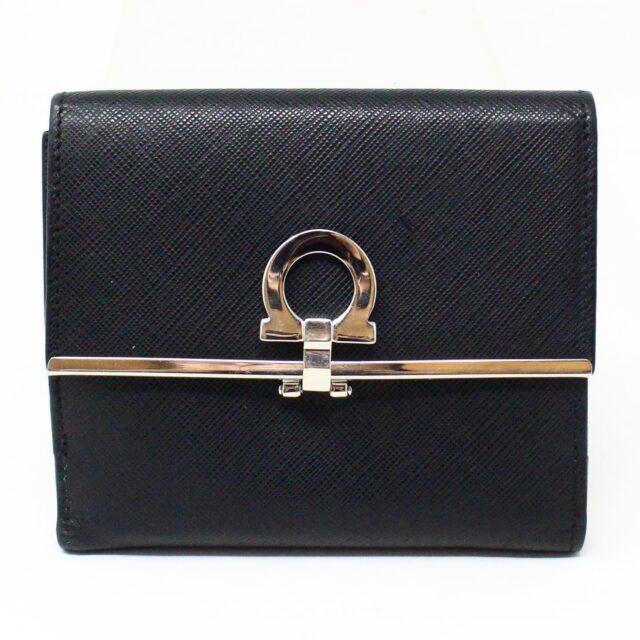 SALVATORE FERRAGAMO 31277 Black Saffiano Leather Gancini Wallet 1