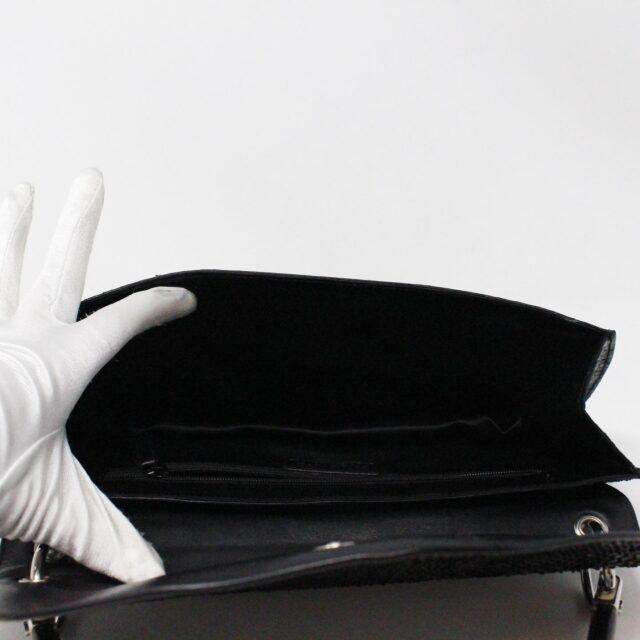 SERGIO ROSSI 31265 Black Leather Clutch 6