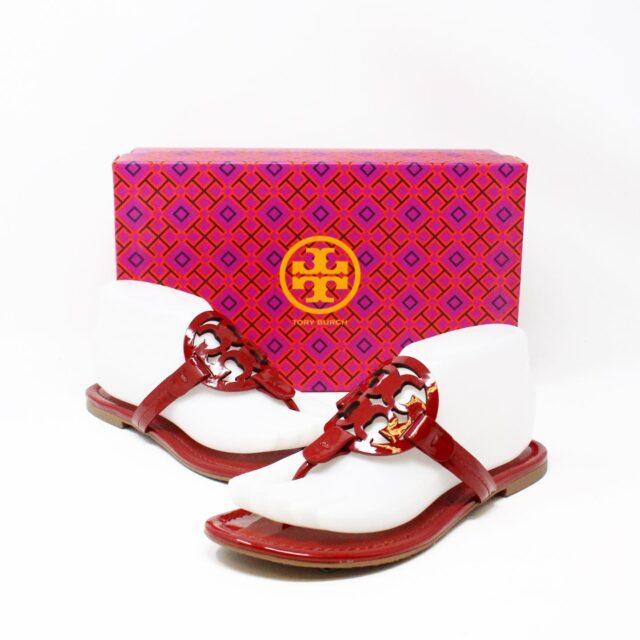 TORY BURCH 31271 Red Burgundy Miller Sandals US 7 EU 37 1