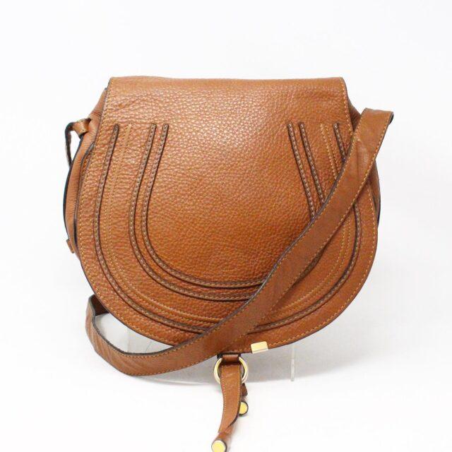 CHLOE 31633 Brown Leather Medium Marcie Flap Shoulder Bag 1