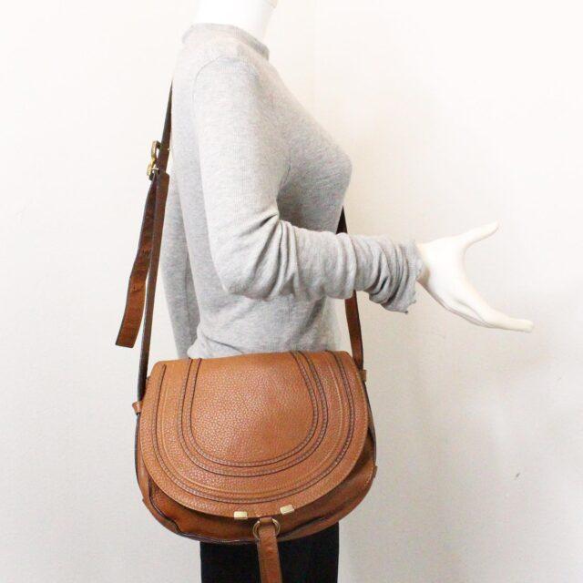 CHLOE 31633 Brown Leather Medium Marcie Flap Shoulder Bag 10