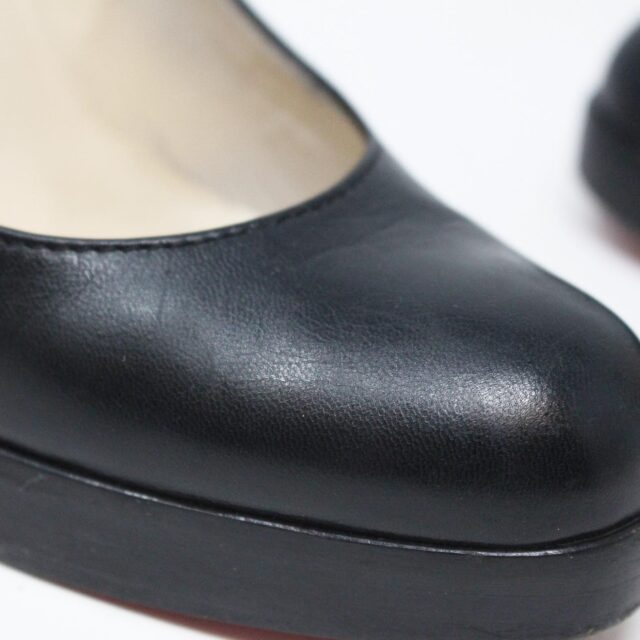 CHRISTIAN LOUBOUTIN 31438 Black Leather Burges Platform Heels US 6 EU 36 10