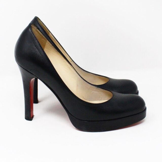 CHRISTIAN LOUBOUTIN 31438 Black Leather Burges Platform Heels US 6 EU 36 2