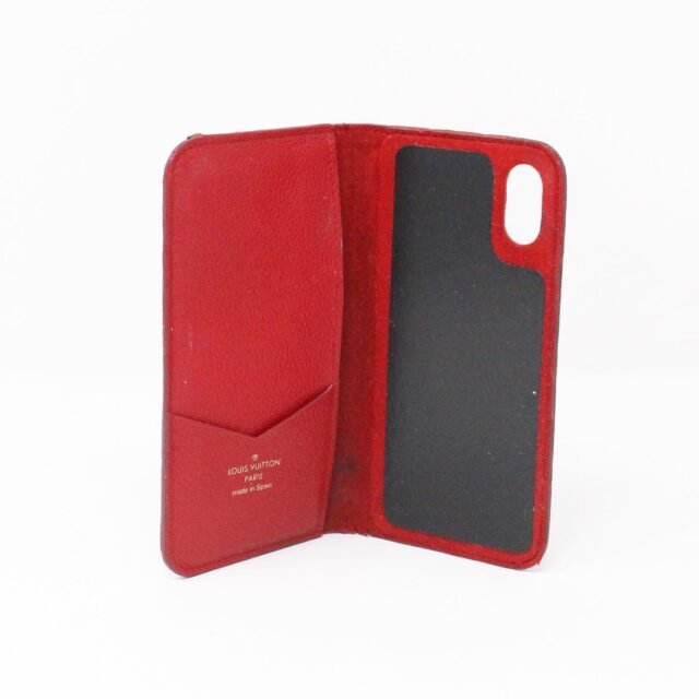LOUIS VUITTON 31445 Red Empreinte Leather Phone Case iPhone 11 X XS 7