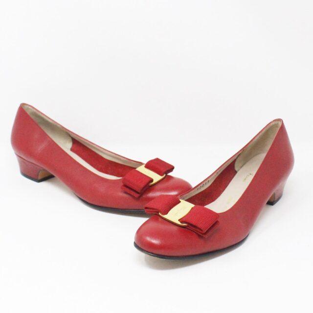 SALVATORE FERRAGAMO 31694 Red Saffiano Leather Pumps US 7 EU 37 1