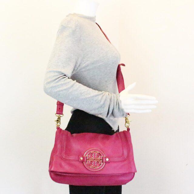 TORY BURCH 31431 Pink Leather Amanda Clutch Crossbody Wallet SET 9