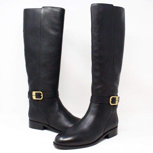 TORY BURCH 31538 Black Leather Brooke 25 mm Long Boots US 8 EU 38 1