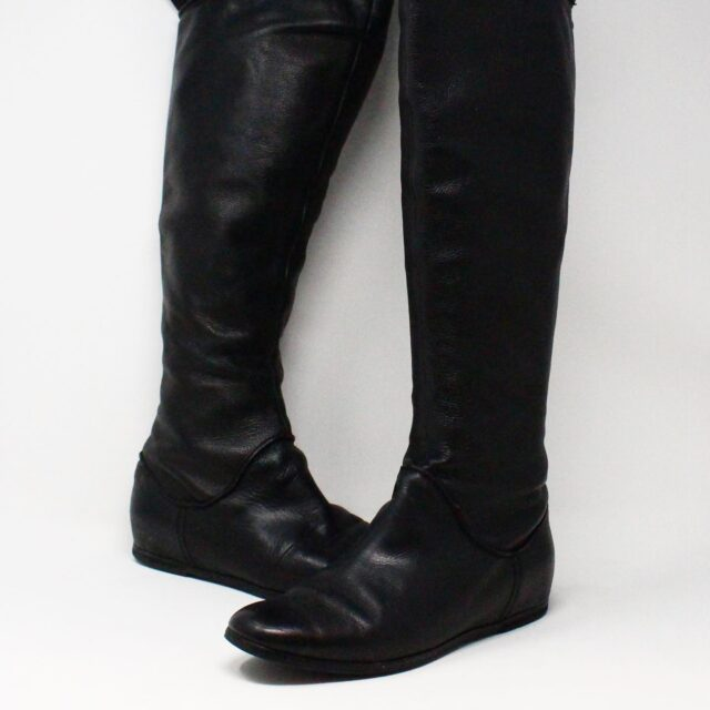 VIA SPIGA 31352 Black Leather Tall Boots US 7.5 EU 37.5 1
